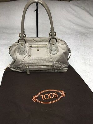 a337e73ca43 Authentic TOD'S Pashmy Sacca Hobo Media Hobo Bag Olive Green Grey VERY NICE