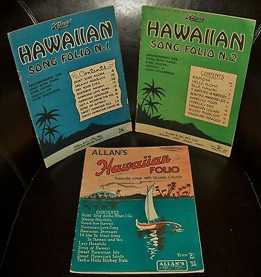 BULK LOT VINTAGE SHEET MUSIC BOOKS:  3 x HAWAIIAN SONG FOLIOS