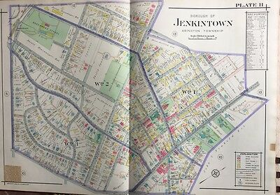 1916 Montgomery County, North Pennsylvania Abington, Jenkintown Atlas Map