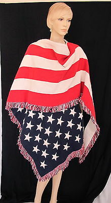 Rare One Of A Kind Hand Made Unisex American Flag Shawl Cape Created After 9/11