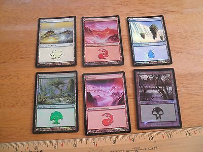 lot of 6 Magic the Gathering MTG foil land cards Mountain Forest