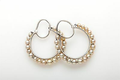 Antique 1800s Victorian GIA Certified NATURAL PEARL Platinum HOOP Earrings RARE