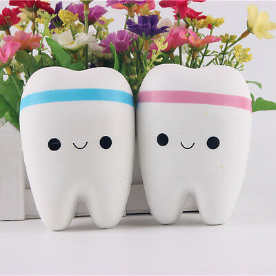 Kids Cute Soft Squishy Toy Tooth Squeeze Stress ADHD Relief Slow Rising Gift New