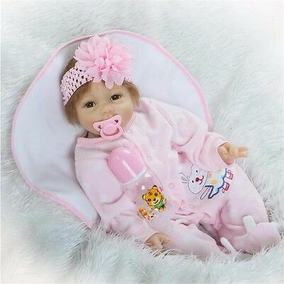 "Lifelike Baby Solid Silicone Vinyl Girl Reborn Toddler Dolls 22"" Handmade Doll"
