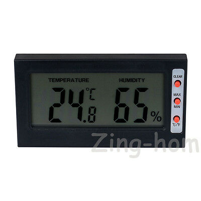 LCD Digital Humidity Thermometer Hygrometer Max Min Memory Celsius Fahrenheit BK