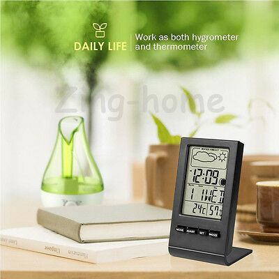 Thermometer Humidity/Hygrometer Digital LCD Temperature Alarm Clock Calendar