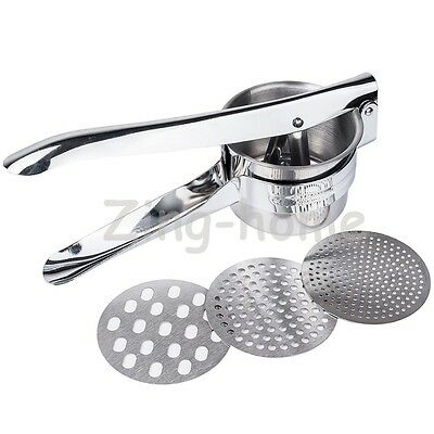 Professional 3 Discs Stainless Steel Potatoes Ricer Handheld Purée Masher Juicer
