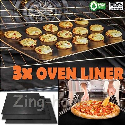 3 x Universal Teflon Oven Cooker Liner Non-Stick Heavy Duty Lining Baking Trays