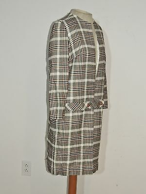 1960's Plaid Long Plaid Jacket MED