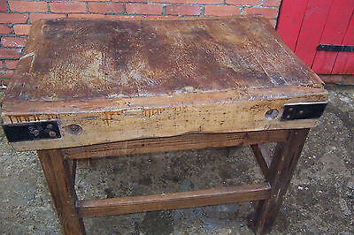 Vintage/antique butchers block with pitch pine stand rustic farmhouse look used