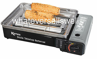 PORTABLE TABLETOP GAS BARBECUE for BBQ camping cartridge is sizzle kampa