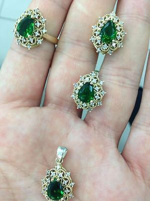 925 Silver Handmade Jewelry Fabulous Transparency Emerald Gemstone Lady Set