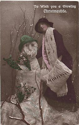 POSTCARD  GLAMOUR   Xmas and Snowman