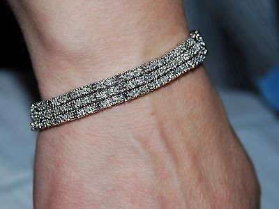 2.0CTTW  Natural Diamond Tennis Bracelet, .925 Sterling Silver.