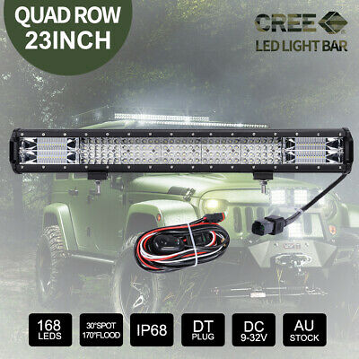 20 inch CREE LED Light Bar SPOT FLOOD Off Road 4x4 Work Driving Bars 3Rows 12V