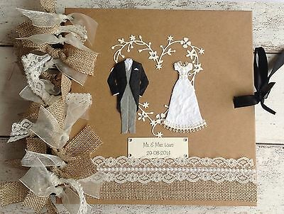 Personalised Rustic Wedding Album/Guestbook ❤️  Burlap/Pearl Trim Lace..