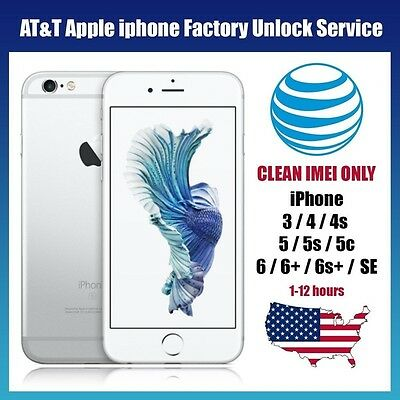 FACTORY UNLOCK AT&T Service Code   iPhone X/8/7/7+/ 6s/ 6+/6/5s/5C/5/4s- Fast