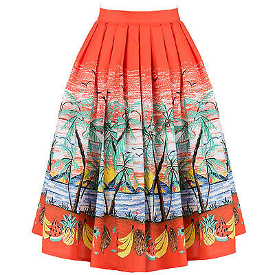 Womens Exotic Tropical Palm Vacation 1950s Vintage Pinup Flared Swing Skirt