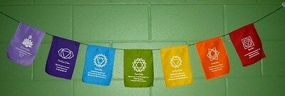 Small The 7 Chakra Prayer Flags  Hindu / Buddhist Affirmations