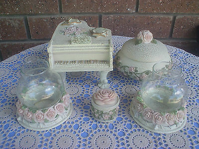 Dezine Hand Painted Dressing Table Set Victorian Theme Roses Musical Piano