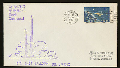 Space - Missle with Big Shot Balloon from Cape Canaveral, pmk PAFB Jul 18, 1962