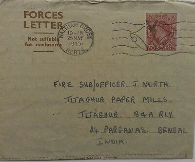 Great Britain 1945 1½ Pence Forces Letter To Fire Officer Titaghur India Censor