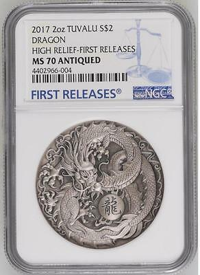 NGC MS70 2017 Tuvalu Dragon 2oz Antique Silver High Relief Coin with COA and BOX