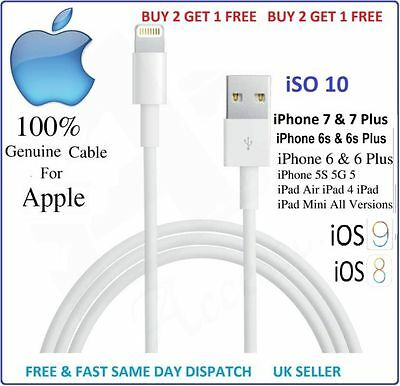 Genuine Charging Cable Charger Lead for Apple iPhone 7, 7plus, 6, 6plus 5,5s,5c