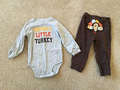 """Carter's Baby Thanksgiving Outfit, Pants & Long-Sleeve Bodysuit, Turkey, """"Mommy'"""