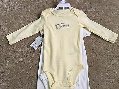 """Carter's Baby 3-Piece Outfit, Yellow Duckie, Size 9 Months, """"I Love Mommy"""", NWT!"""