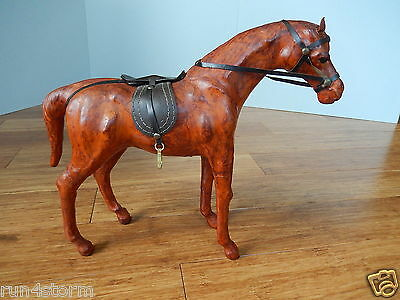 """Vintage Decorative Leather Wrapped Horse Statue With Saddle 14"""" Long 11"""" Height"""