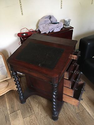 Antique Mahogany Davenport Writing Desk On Chunky Barley Twist Supports