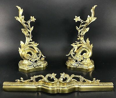 Vintage Brass Fireplace Andirons French Chenets Acanthus Flowers Fender Set BG75