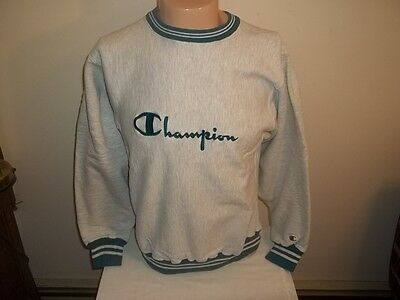 Vtg Champion Reverse Weave Gray Turquoise Sewn Spell-Out Script Sweatshirt M/L