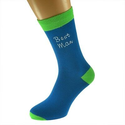 Blue & Lime Green Mens Funky Wedding Socks UK 5-12 In Various Roles X6TCW001