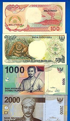 Indonesia 100, 500, 1000, 2000 Rupiah Uncirculated Banknotes Set # 9