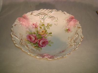 """Antique Porcelain Bowl Large Unmarked Embossed Hand Painted 10 5/8"""" BEAUTIFUL"""