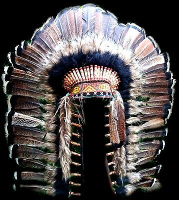 Beautiful Wild Turkey Comanche / Tonkawa Chief's Warbonnet Head Dress