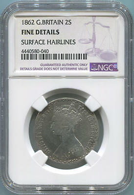 1862 Great Britain Silver 2 Shilling. NGC Fine Details