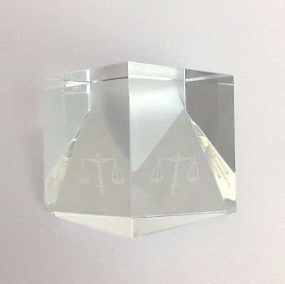 """Steuben Crystal """"Scales of Justice"""" Paperweight"""