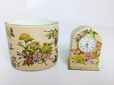 Halcyon Days Small Enamel Floral Table Clock and Pen Holder