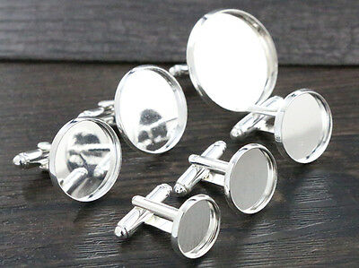10pcs Bright Silver Plated Cufflink Blanks | Choice of 5 Sizes