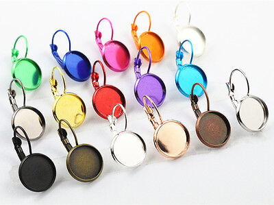 10pcs French Lever Back Earrings | 16 Colour Choices | 12mm Cabochon Setting