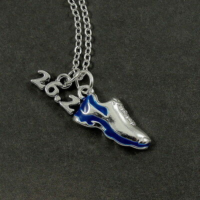 26.2 MARATHON RUNNING SHOE NECKLACE - Silver and Blue Runner CHARM PENDANT