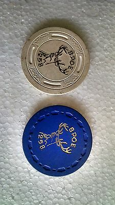 Two Whittier CA Elks BPOE  Lodge #1258 Poker Chips