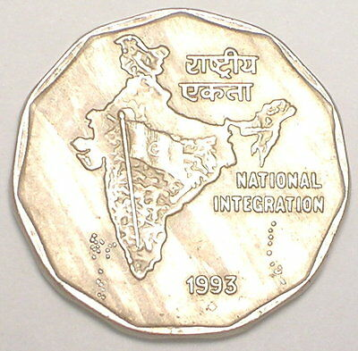 1993 India Indian 2 Rupees Map Three Lions Coin VF