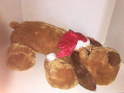 "Dan Dee Holiday Time Floppy Puppy Pal Size 26"" x 22"" Brown W/Red Santa Hat NWT"
