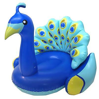 Swimline Giant Inflatable Colorful Peacock Swimming Pool Float with Backrest