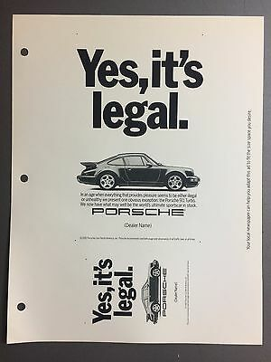 1991 / 1992 Porsche 911 Turbo Coupe Advertising Slick (Ad Slick) Print, Poster