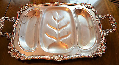 Vintage LARGE SILVER PLATED ON COPPER Waiters Footed SECTIONED Tray with Handles
